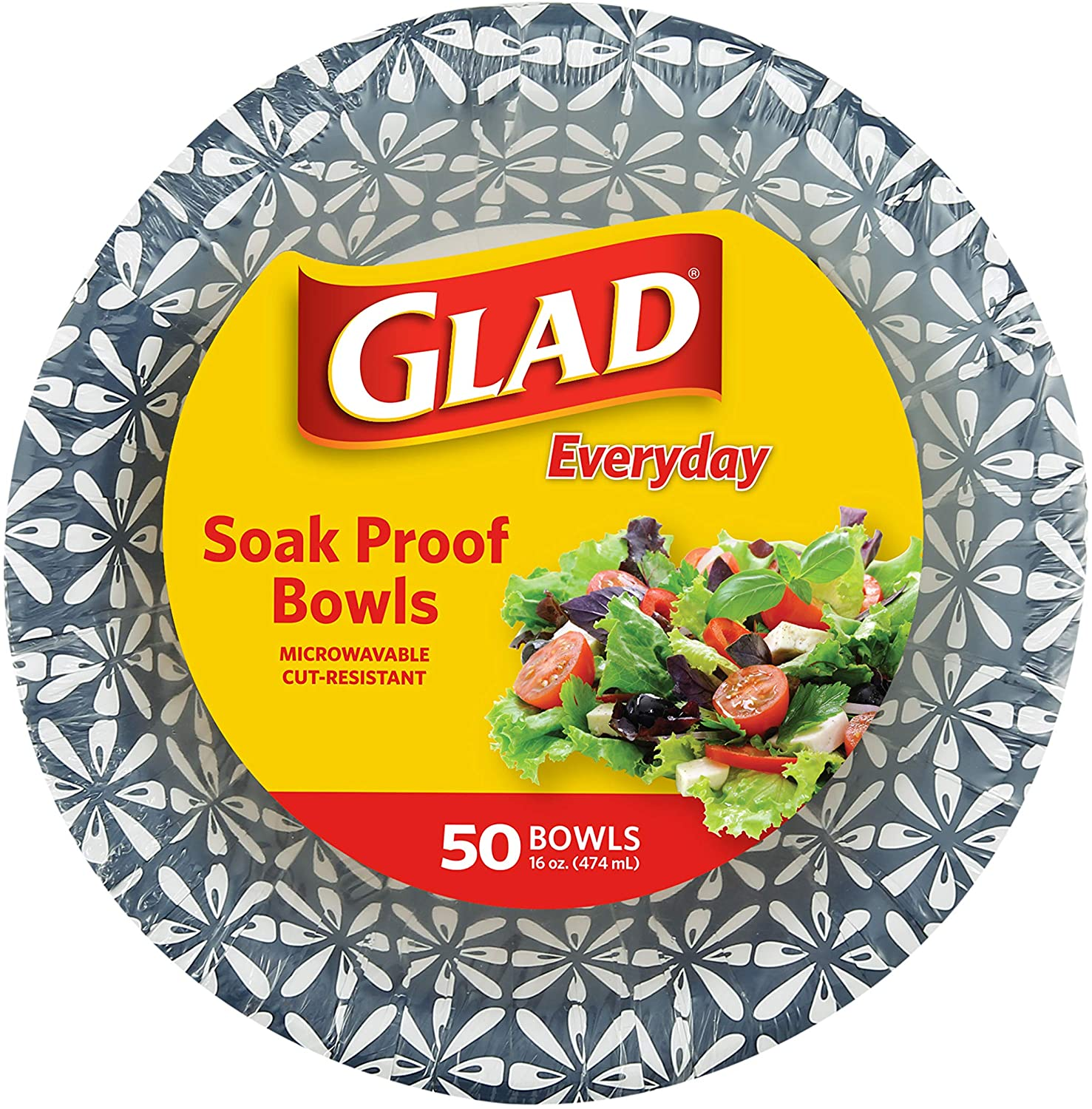 Glad 16 oz Paper Bowls With Daisy Design   Disposable Paper Bowls for Parties and Picnics Daisy Print   Microwave Safe Disposable Paper Bowls for Everyday Use, 16 Oz
