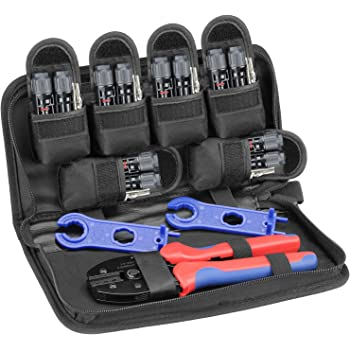 BougeRV Solar Connectors Crimper Tool Kit for 10/11/12/13 AWG Solar Panel Wire 6 Pairs Solar Panels Connector Male Female and 1 Pair Solar Connector Spanner Assembly Tools