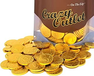 CrazyOutlet Pack - Gold Coins Milk Chocolate Candy, Large 1.5 Inch, Bulk Candy, 2 lbs