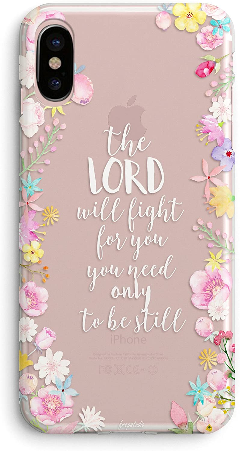 Compatible iPhone X/Xs Case Girls,Women Power Cute Floral Flowers Cute Bible Verses Quote Vintage Rose Christian Inspirational Pink Exodus 14:14 Lord Will Fight You Soft Clear iPhone X/Xs Case