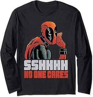 Marvel Deadpool SHHH No One Cares Whisper Long Sleeve Tee