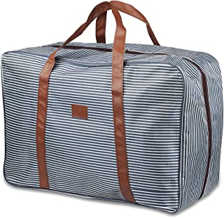 """Kosibate Travel Duffel Bag, Foldable Storage for Men and Women, Large Carry On Luggage 19"""" Overnight Weekend Bag Blue Stripped"""
