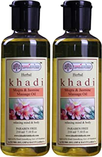 Khadi Rishikesh Herbal Mogra & Jasmine Massage Oil Combo Set Pack Of - 210ml X 2(420ml)