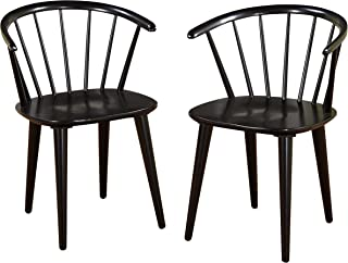 Target Marketing Systems Set of 2 Florence Dining Chairs with Low Windsor Spindle Back, Set of 2, Black