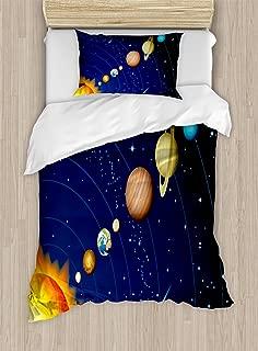 Ambesonne Space Duvet Cover Set, Solar System with Sun Uranus Venus Jupiter Mars Pluto Saturn Neptune Image, Decorative 2 Piece Bedding Set with 1 Pillow Sham, Twin Size, Blue Orange