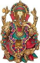 Brass Ganesha Idol Ganpati Murti Ganesh Chaturthi Statue Vinayaka for Home Decor Gift Entrance Mandir Good Luck Puja Multi...