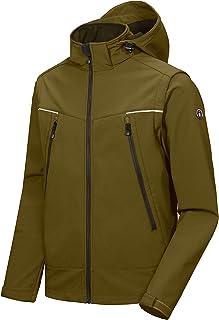 Men's Waterproof Softshell Jacket with Detachable Sleeves and Hood, Fleece Mountain Ski Snow Rain Coat