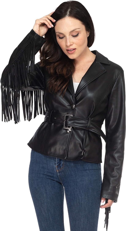 Women's Juniors Suede Backing Soft PU Leather Fringe Details Long Blazer Jacket