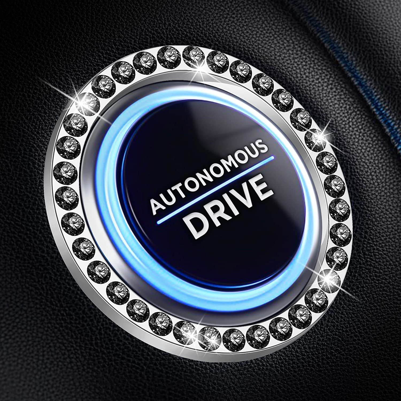 Bling Car Decor Crystal Rhinestone Ring Emblem Sticker, Bling Car Accessories for Women, Car Interior Decoration, Push to Start Button, Key Ignition Starter & Knob Ring,Car Decor Accessory (Black)