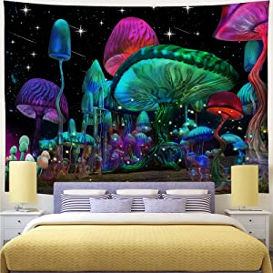 Sobawuo Psychedelic Mushroom Tapestry Trippy Wall Tapestry Fantasy Plant Tapestry Wall Hanging Starry Night Sky Tapestry for Bedroom Living Room Decor (H59.1