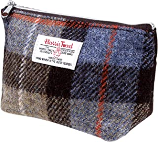 Harris Tweed Plaid Tartan Zipped Purse Cosmetic Toiletry Makeup Bag (Blue Tartan)