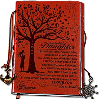 Dad To Daughter Gifts with Inspirational Quotes - Retro Tree of Life Faux Leather Cover Writing Journal, Personal Diary, Lined Journal, Travel, Notebook, Writers Notebook, Refillable for Teen Girls