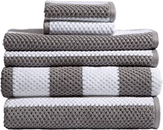 Caro Home Rugby Grey 6 Piece Bath Towel Set - 2 Bath Towels 2 Hand Towels 2 Face Towels - 100% Combed Cotton Premium Quality Striped Pattern Color, Thick and Heavy Weight Plush Absorbent 600 GSM