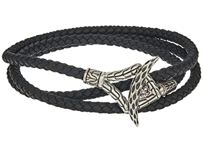 John Hardy Legends Naga Triple Wrap Bracelet in Black Leather (Silver) Bracelet