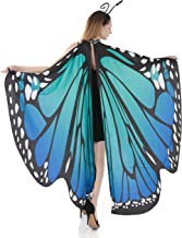 Spooktacular Creations Butterfly Wing Cape Shawl Adult Women Halloween Costume Accessory with Black Velvet Antenna Headband