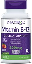 Natrol Vitamin B12 Fast Dissolve Tablets, Promotes Energy, Supports a Healthy Nervous System, Maximum Strength, Flavor, 5,000mcg, Strawberry, 100 Count