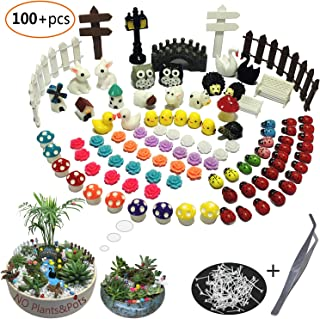 Aubasic 100 Pieces Miniatur Garden Ornament Kit Set for DIY Fairy Garden Mini Bonsai Dollhouse Decoration(Garden Style)