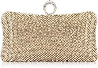 d00a9b58d9 Dexmay Ring Rhinestone Crystal Clutch Purse Luxury Women Evening Bag for  Bridal Wedding Party