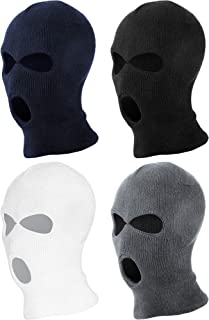 SATINIOR 4 Pieces Knit Sew Outdoor Full Face Cover Thermal Ski Mask for Winter Outdoor Sports