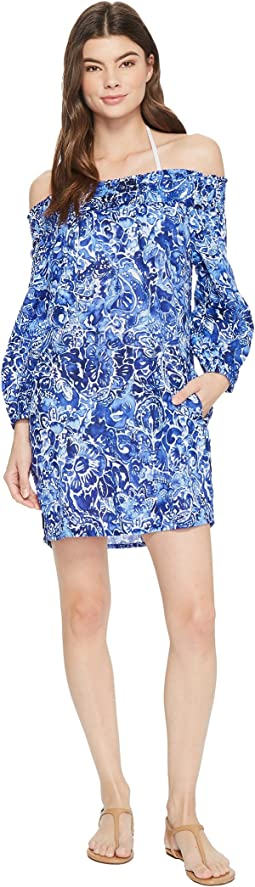 Playa Floral Smocked Off the Shoulder Tunic Cover-Up
