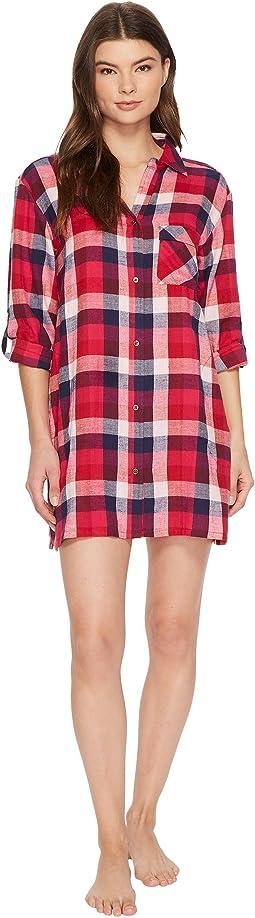 Lucky Brand - Flannel Button Down Sleepshirt