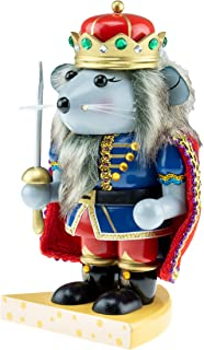 Clever Creations Chubby Wood Mouse King Nutcracker | Blue and Gold Jacket Outfit, Sword, and Cheese Stand | Traditional Festive Christmas Decor | 7.5