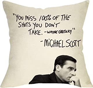Fbcoo The Office TV Show Decorative Throw Pillow Case Wayne Gretzky Funny Michael Scott Quote Cushion Cover Home Decor 18 x 18 Inch Cotton Linen for Sofa Couch