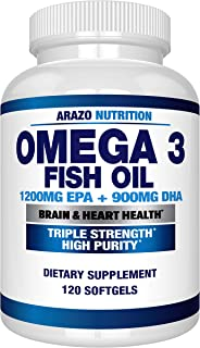 Omega 3 Fish Oil 2250mg - High EPA 1200MG + DHA 900MG Triple Strength Burpless Capsules - Arazo Nutrition (120 Count)