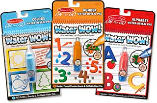 Melissa & Doug On the Go Water Wow! Reusable Water-Reveal Activity Pads,3-pk, Colors, Numbers, Alphabet