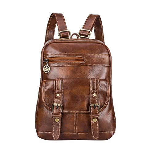 ecfbd1a2ab20 SNUG STAR Soft PU Leather Backpack Vintage School Bag Travel Purse Satchel  for Women and Girls