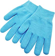 Pinkiou Gel SPA Moisturizing Gloves Soft Cotton with Thermoplastic Repair Cracked Cuticles Dry Skin Treatment Hydrating Gel Lining Infused with Essential Oils Vitamins Large Size(gloves, blue)