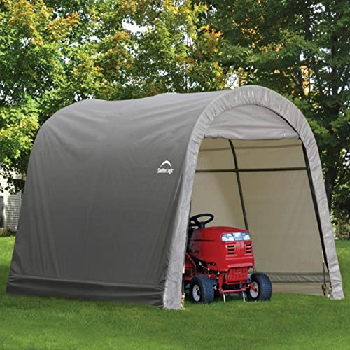 ShelterLogic 10' x 10' Shed-in-a-Box All Season Steel Metal Round Roof Outdoor Storage Shed with Waterproof Cover and Heavy Duty Reusable Auger Anchors
