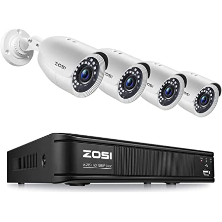 ZOSI H.265+ Full 1080p Home Security Camera System Outdoor Indoor, 5MP-Lite CCTV DVR 8 Channel and 4 x 1080p (2MP) Day Night Vision Weatherproof Surveillance Bullet Camera, Motion Alerts (No HDD)