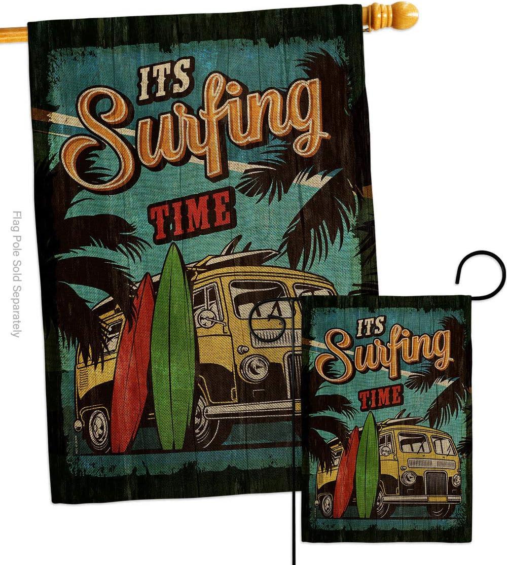 ! Super beauty product restock quality top! Breeze Decor Beach It's Surfing Burlap House Garden Flags Co Bargain sale Set