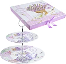 (Butterfly Lavender) - 2 Tiered Cake Stands Plates Porcelain Lilac Lavender Rose Floral Design Gift Box (Butterfly Lavender)