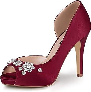 ERIJUNOR Women's Peep Toe Platform High Heel Rhinestones Satin Evening Prom Wedding Shoes