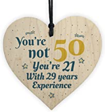 RED OCEAN 50th Birthday Gift Wooden Heart 50 For Dad Mum Sister Friend Funny Sign Keepsake