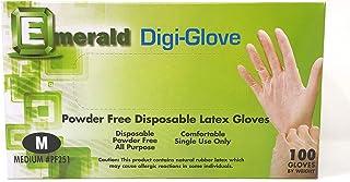 Emerald Digi-Gloves, Powder Free Disposable Latex Gloves (Medium)
