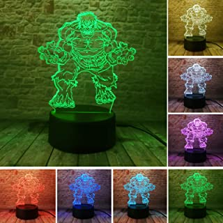 Fanrui Marvel Avengers Legends - Super Heroes Hulk - Fans Collectible Art Table Lamp - Smart 7 Colors Change Touch with IR Controller Good Night Light - Boys Bedroom Decoration Child Man Baby Xmas Toy
