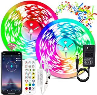 BIHRTC Led Strip Lights kit 32.8ft App Control RGB 300leds 5050 Color Changing Flexible Led Tape Light with Remote Music S...