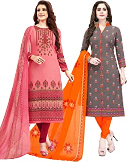 Salwar Studio Women's Pack of 2 Synthetic Printed Unstitched Dress Material Combo(OM-0048113_Multi_FS)