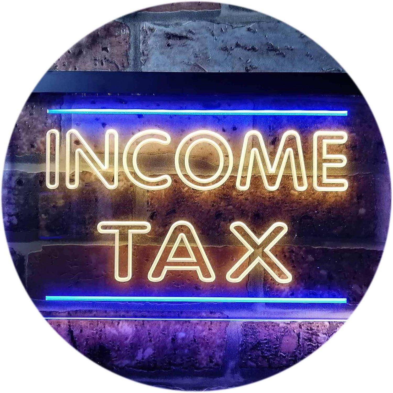 ADVPRO Income Tax Services Display Dual Farbe LED Barlicht Neonlicht Lichtwerbung Neon Sign Blau & Gelb 400mm x 300mm st6s43-i0430-by