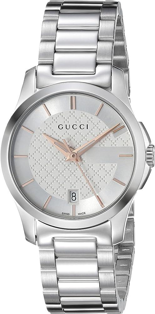 Gucci ,orologio per donna ,in acciaio inox color argento,vetro zaffiro YA126523u