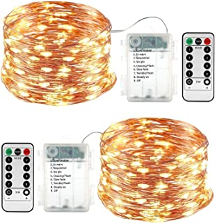 2 Pack Fairy Lights Halloween, Battery Operated Waterproof 8 Modes with Remote Control 33ft 100 Led Copper String Lights f...