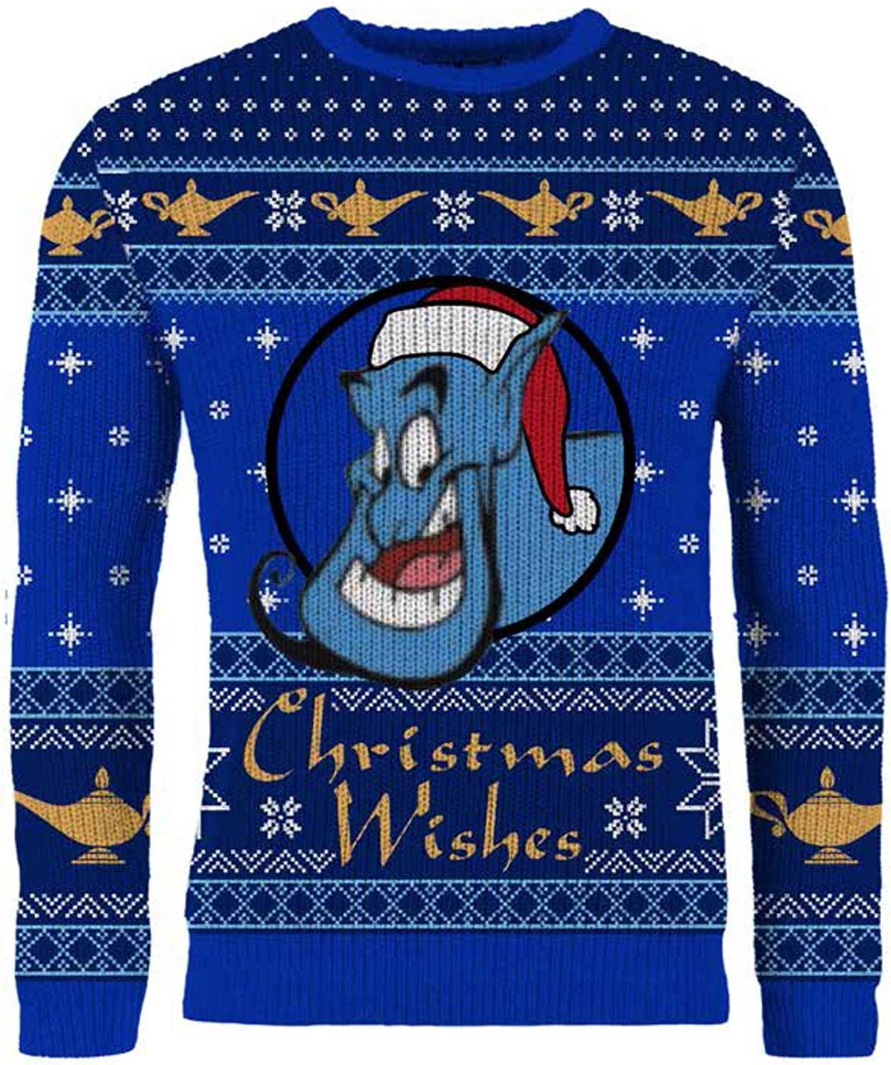 Aladdin Genie Christmas Wishes Children's Blue Knitted Christmas Jumper