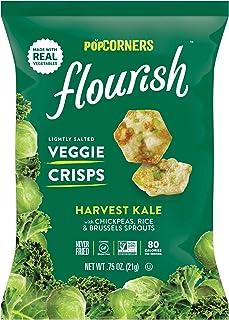 PopCorners Flourish Harvest Kale Veggie Crisps | Plant-Based Protein, Gluten Free Snacks | (24 Pack, .75 oz Snack Bags)
