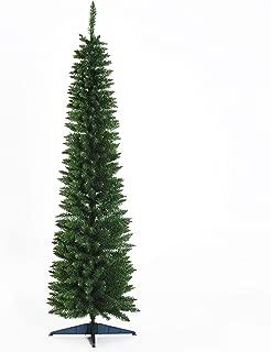 HOMCOM 6' PVC Hinged Unlit Slim Artificial Christmas Tree - Green