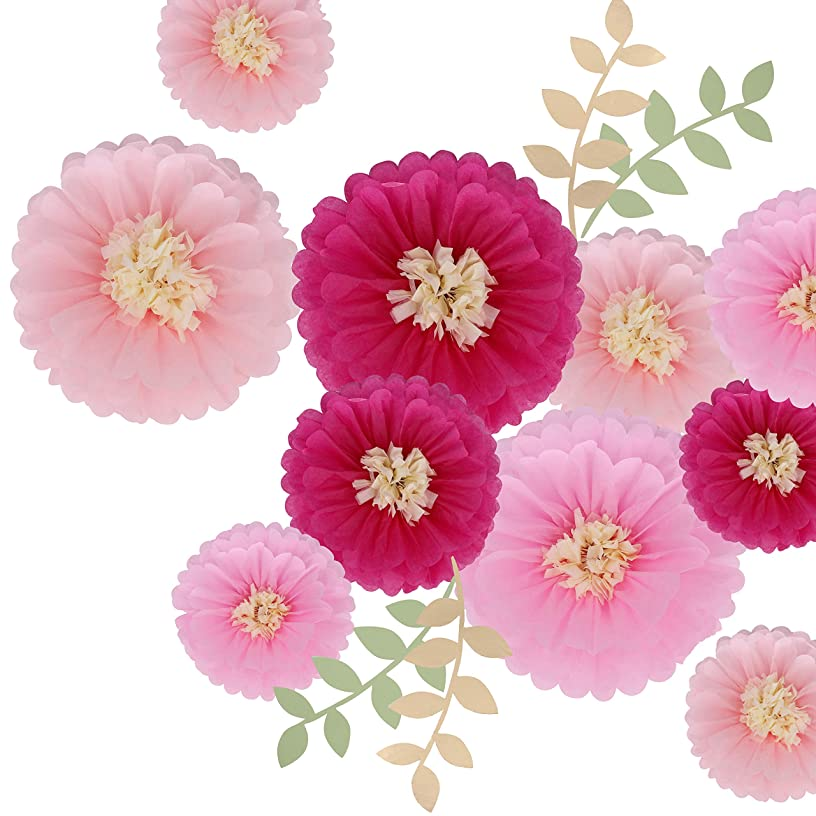 DOYOLLA 12 Pieces Pink Paper Flowers Tissue Paper Chrysanth Flower Decorations for Wall, Wedding Backdrop, Archway Centerpiece, Nursery Wall Decoration