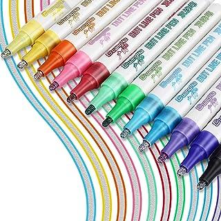 Stylos Contour, RATEL 12 couleurs Stylo Double Ligne Marqueur, Stylos de peinture acrylique , Stylos de double contour pou...
