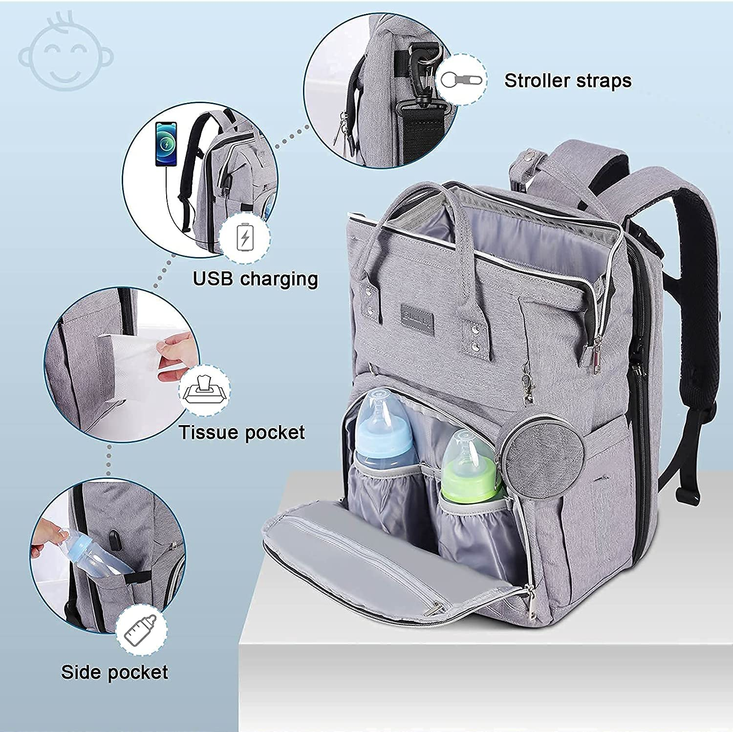 Diaper bag with changing Pad, Diaper bag with bassinet, Diaper backpack with travel bed